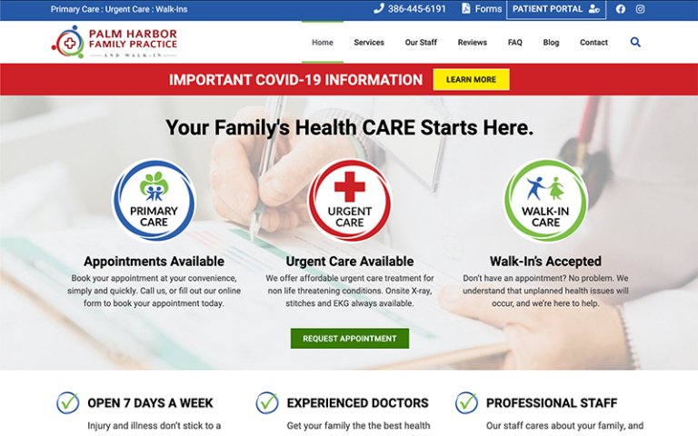Palm Harbor Family Practice website by Purge Marketing