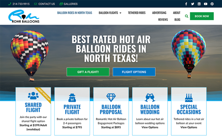 Rohr Balloons website by Purge Marketing