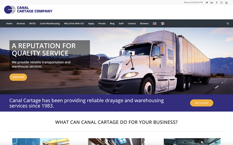 Canal Cartage website by Purge Marketing